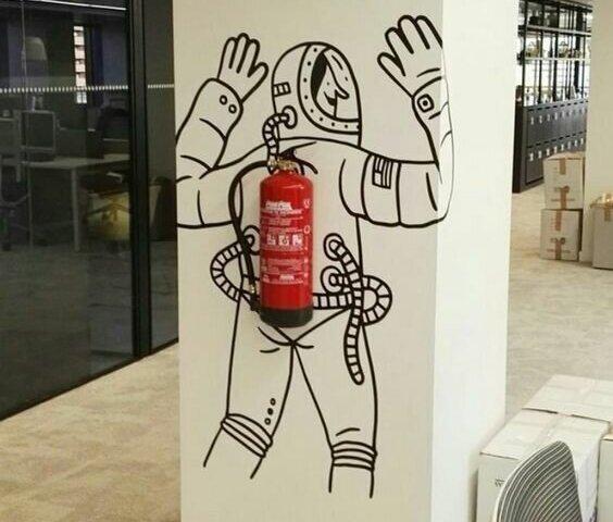 Размещение огнетушителя